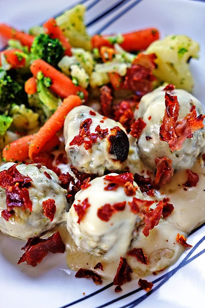 Baked Pesto Turkey Meatballs with Homemade Alfredo Sauce and Pan Fried Prosciutto6