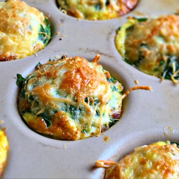 close up of Omelet Muffins with Spinach and Parmesan