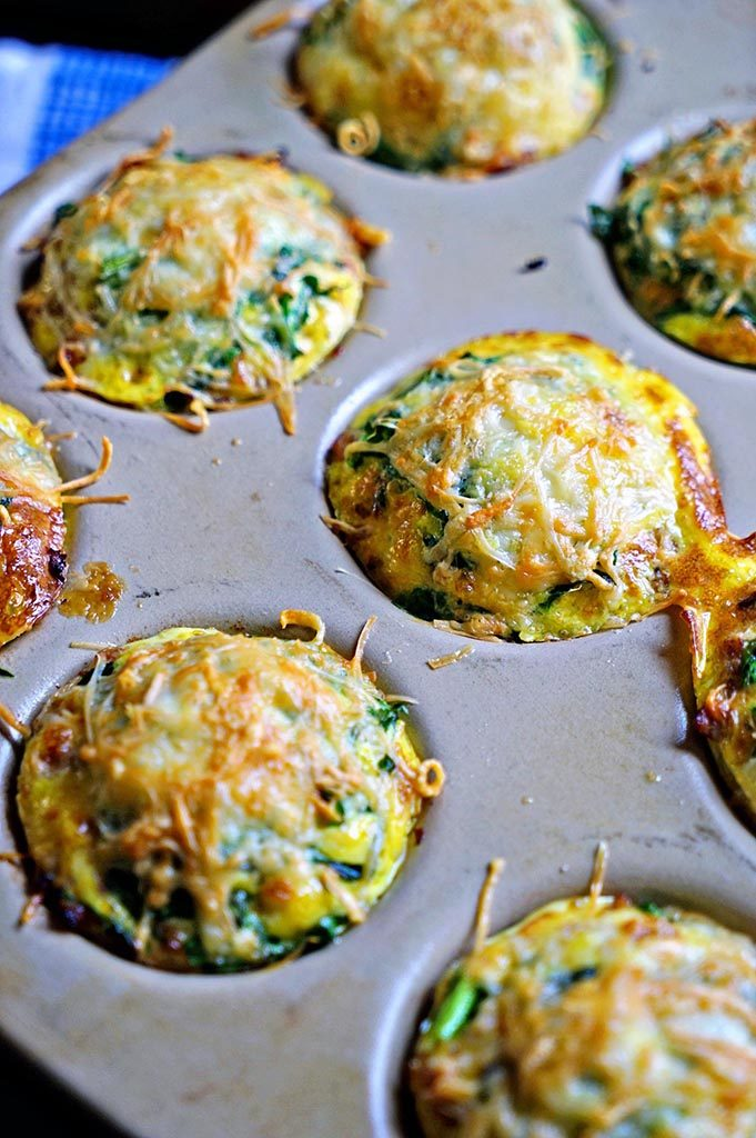 baked Omelet Muffins with Spinach and Parmesan