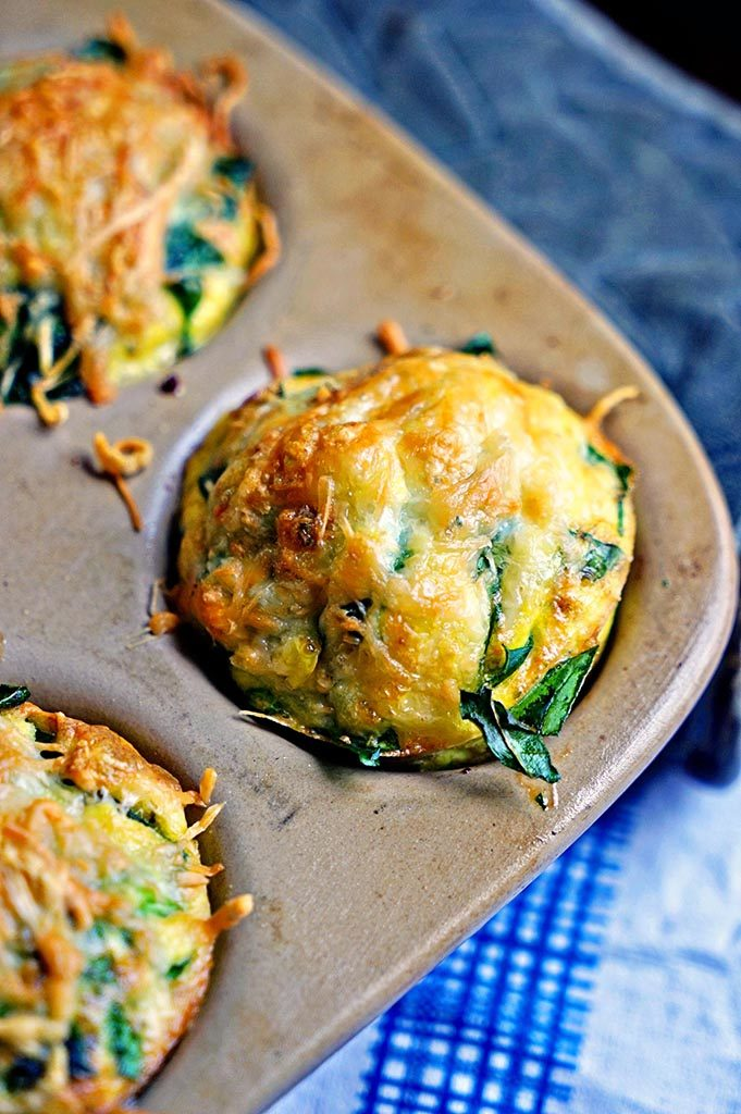Omelet Muffins with Spinach and Parmesan in pan