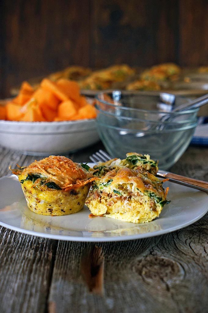 Breakfast Sausage Egg Cups with Spinach and Parmesan6