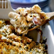 Creamy Chipotle White Cheddar Mac and Cheese with Grilled Hot Dogs - for this one I use Ball Park Park's Finest Hot Dogs, talk about amazing flavor! Whole wheat pasta get a homemade, 3 cheese sauce, minced chipotle peppers for kick and is baked to a golden brown. This crispy, crunchy Panko topped Mac & Cheese is taken to a new level. www.keviniscooking.com