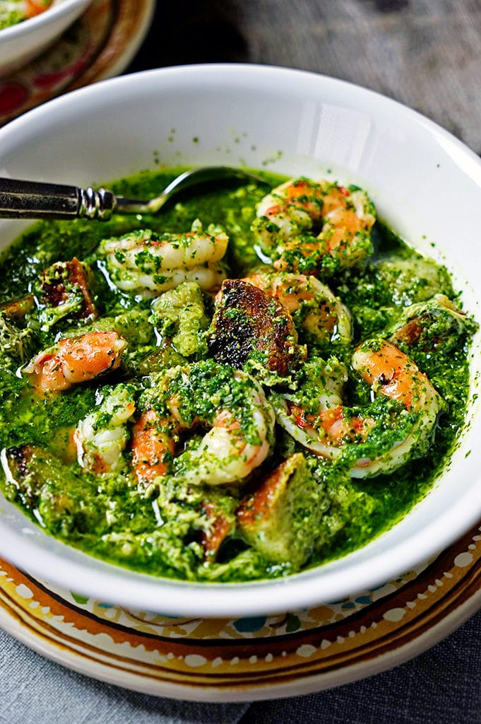 Portuguese Bread and Garlic Soup with Cilantro and Shrimp1