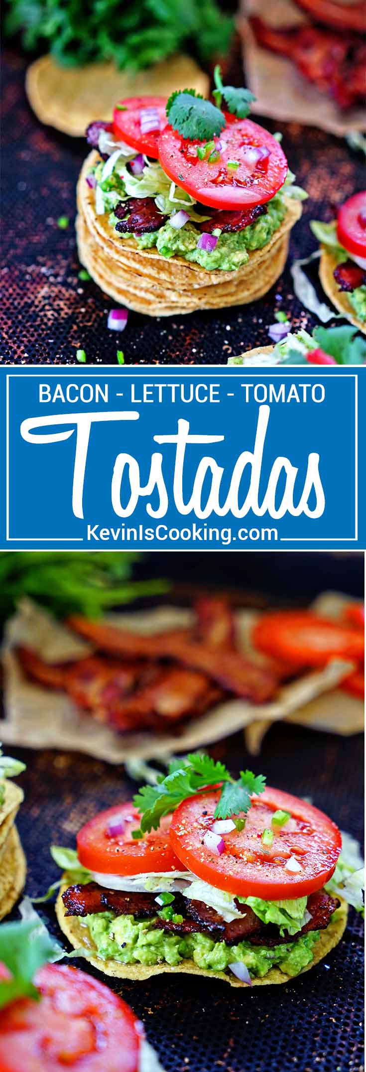 BLT Tostadas with Guacamole - A Mexican twist on an American classic sandwich - bacon, lettuce, tomatoes and a spicy guacamole all atop a crunchy tostada.