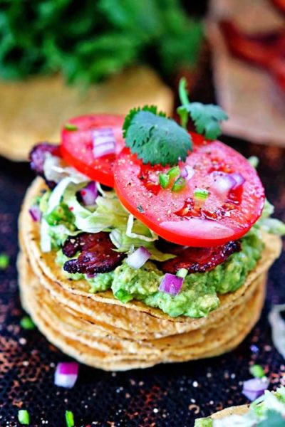 BLT Tostadas with Spicy Guacamole