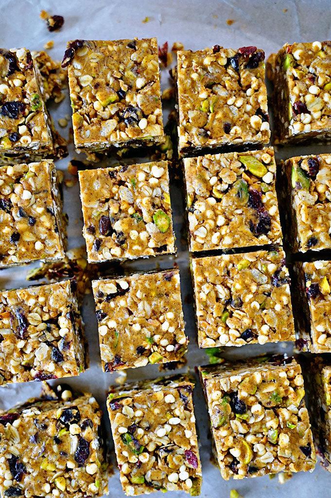 Easy No-Bake Almond Butter, Pistachio, Cranberry Granola Squares www.keviniscooking.com