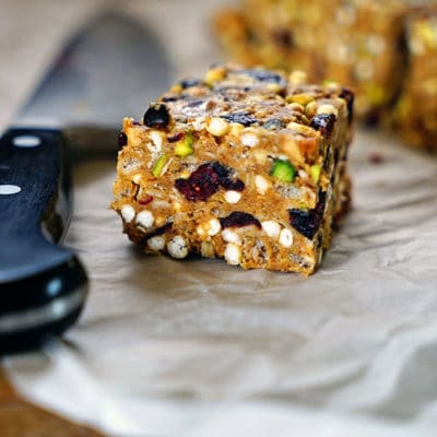 Easy Almond Butter, Pistachio, Cranberry No Bake Granola Squares