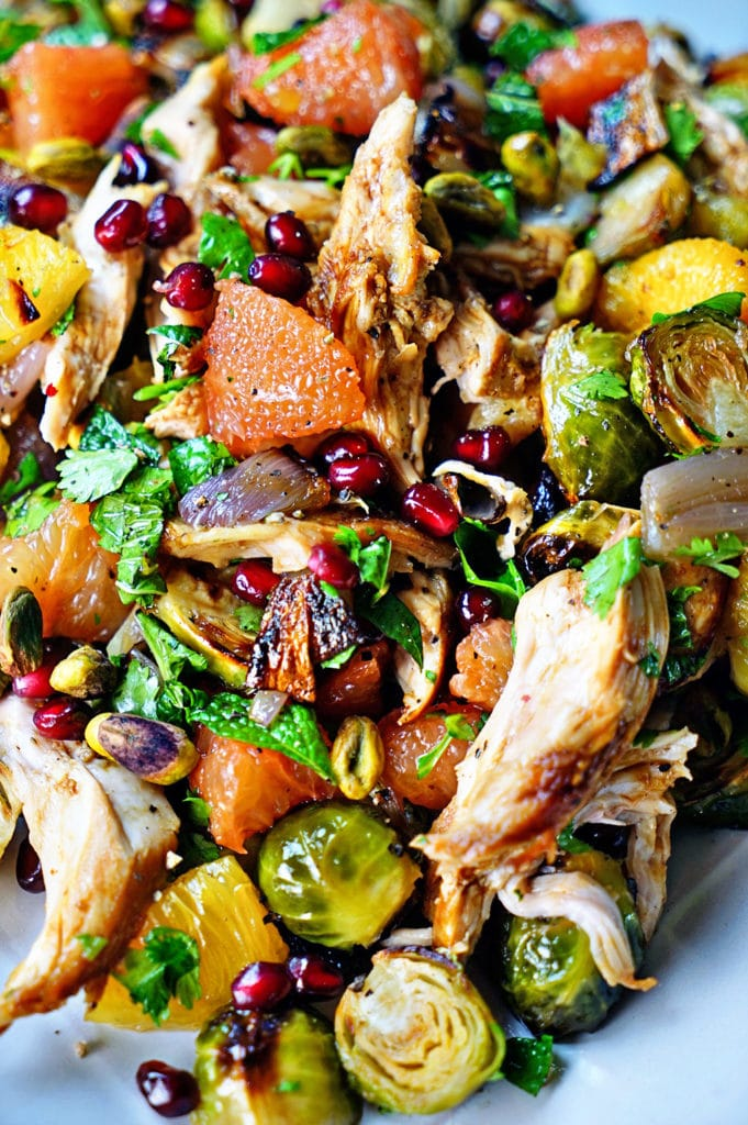 Roasted Brussels Sprouts with Rotisserie Chicken Citrus and Star Anise Salad. www.keviniscooking.com