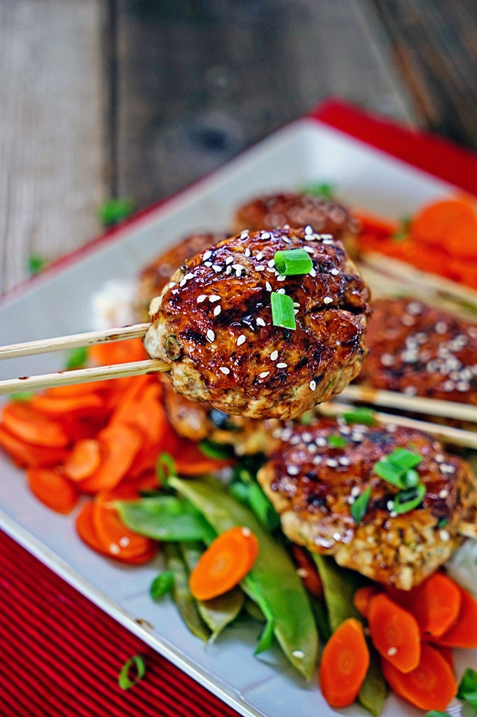 Yakitori Style Chicken Sausage with Sweet and Savory Taré. www.keviniscooking.com
