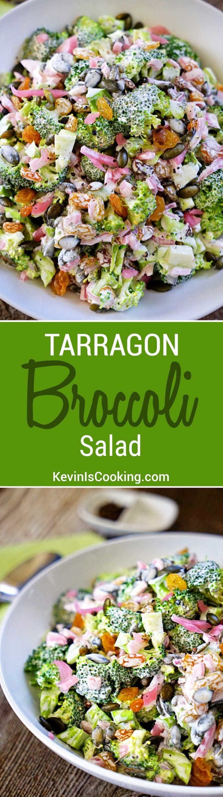 Tarragon Broccoli Salad with Golden Raisins, Marinated Red Onion and Pepitas - this fresh, crunchy and healthy salad is the perfect side dish!