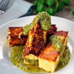 Chicken Polenta Sticks with Tomatillo Salsa Verde