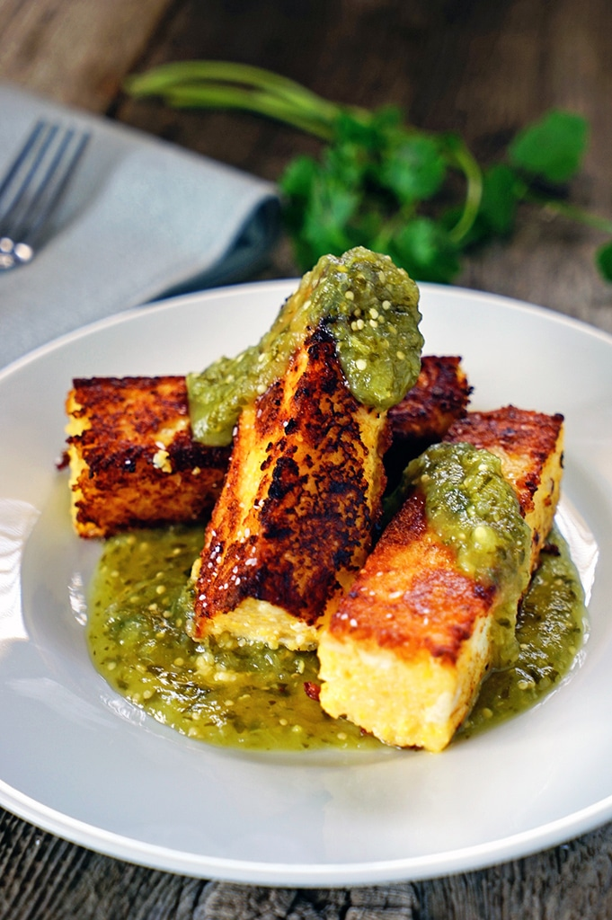 Chicken Polenta Sticks with Tomatillo Salsa Verde. www.keviniscooking.com