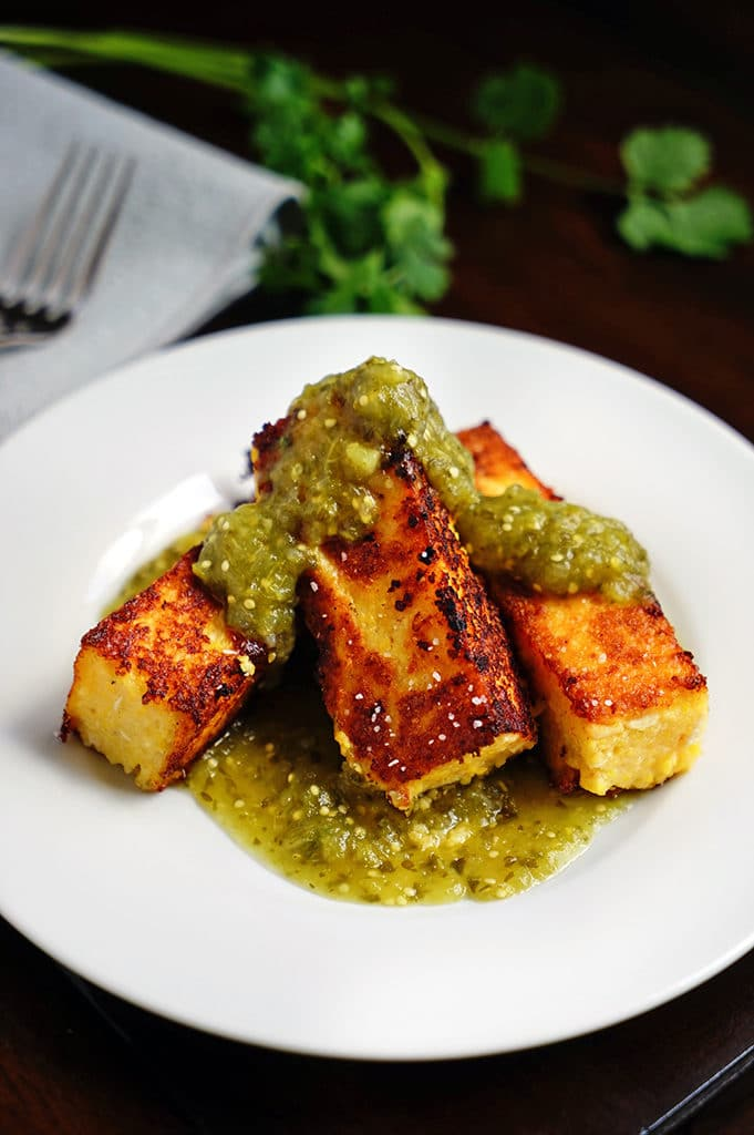 Chicken Polenta Sticks with Tomatillo Salsa Verde. www.keviniscooking.com
