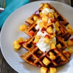 Date Honey Bran Waffles with Peaches