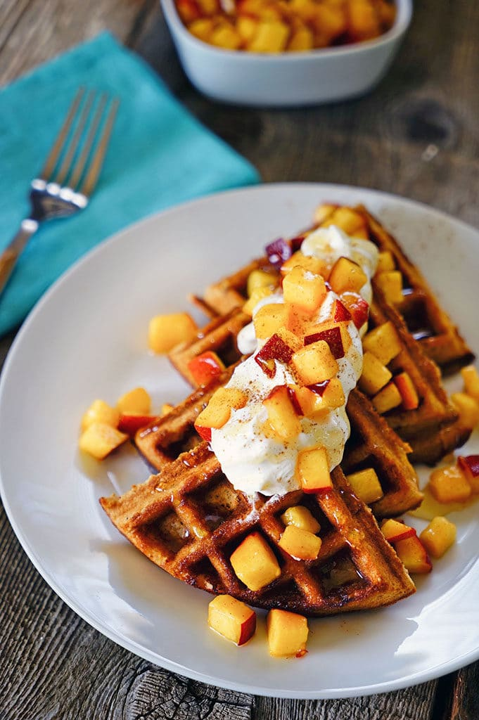 Date Honey Bran Waffles with Cinnamon Peaches. www.keviniscooking.com
