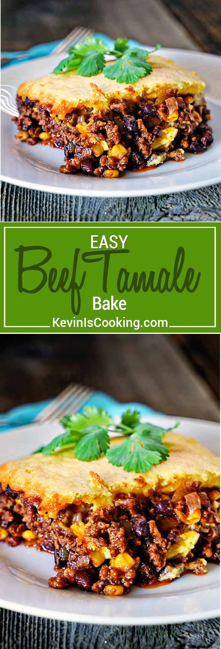 Easy Tamale Bake - a quick and easy meal made from ground beef, spices, corn and beans all topped with a cornbread batter that's baked and ready in minutes.