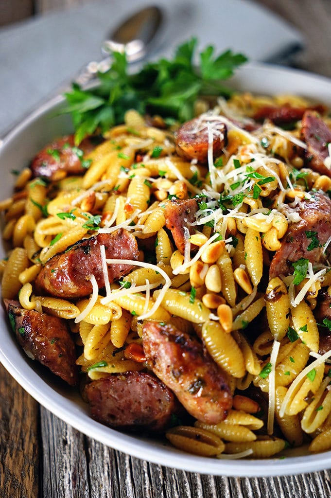 Pignolias and Browned Butter Pasta with Grilled Sausages. www.keviniscooking.com