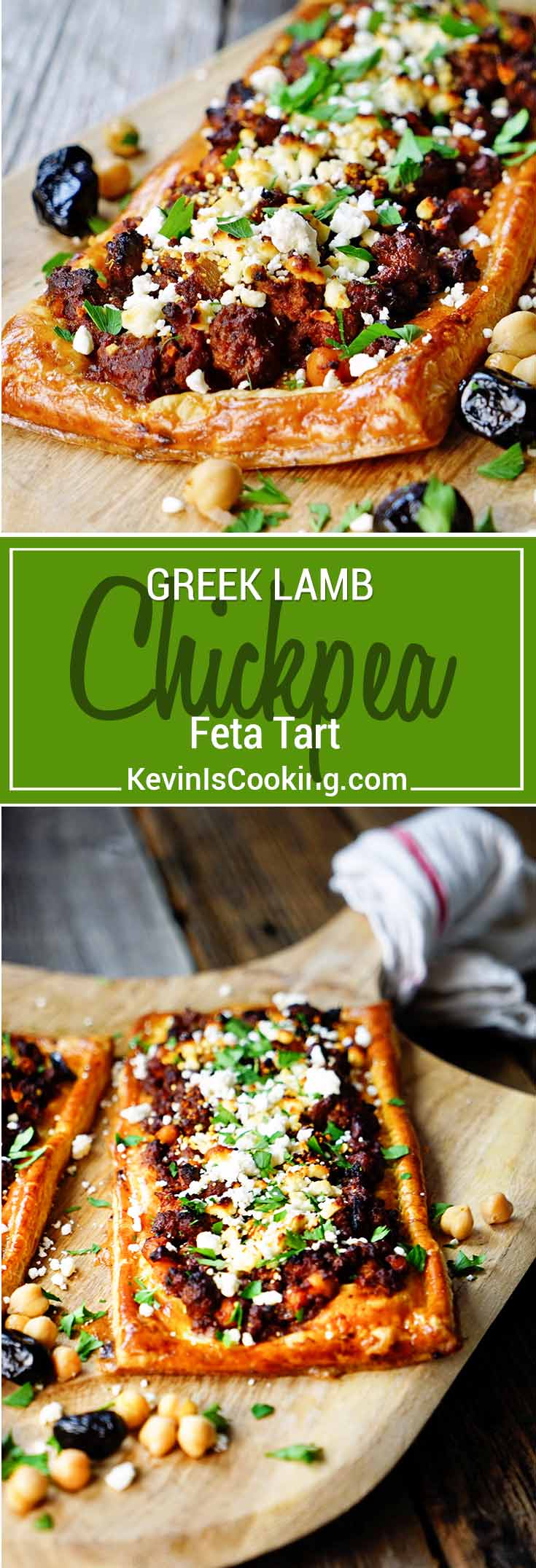 This Greek Lamb, Chickpea and Feta Tart is made with warm spices, ground lamb, olives, feta cheese and puff pastry. Delivers big on flavor!
