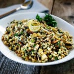 Corn and Fregola with Grilled Halloumi