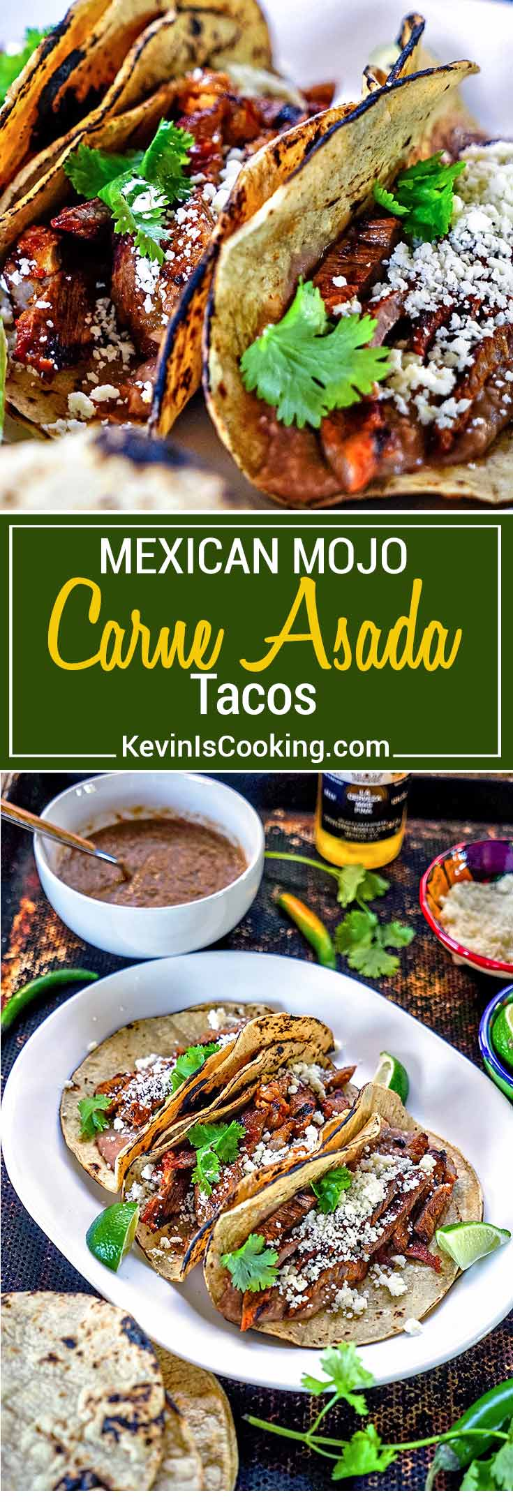 Mojo Carne Asada Tacos - A blend of chiles, garlic, oil and orange juice marinate this skirt steak only after it's been soaked in beer first. Grill and eat… amazing flavors!