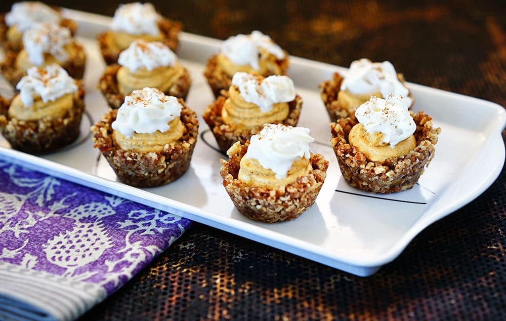 No Bake Pumpkin Cheesecake Pecan Tarts. www.keviniscooking.com