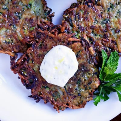 Zucchini Herb Fritters with Lemon Garlic Yogurt