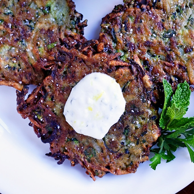 Zucchini Herb Fritters with Lemon Garlic Yogurt. www.keviniscooking.com