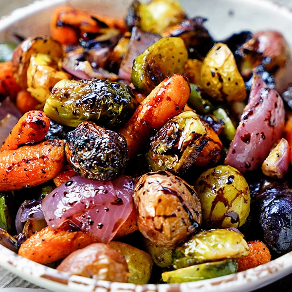 Easy Roasted Vegetables With Honey And Balsamic Syrup Kevin Is Cooking
