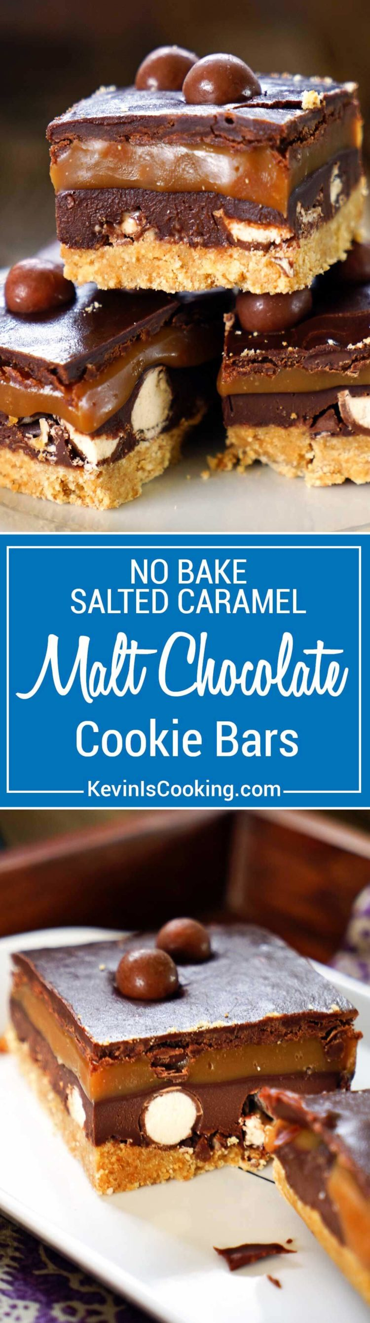 Chocolate Lovers! No Bake Salted Caramel Chocolate Cookie Bars have a cookie base, chocolate ganache, malt balls, caramel more chocolate on top.