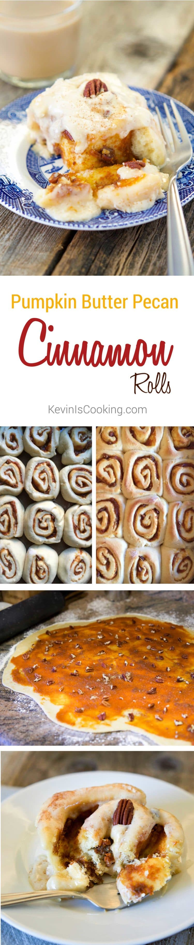 Pumpkin Butter Pecan Cinnamon Rolls. www.keviniscooking.com