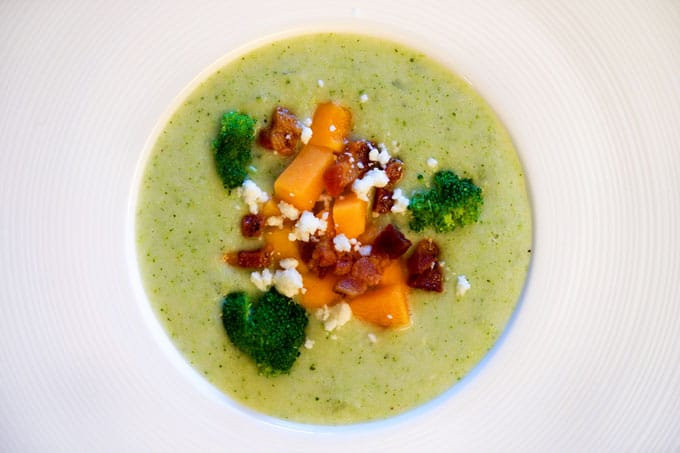 Cream of Broccoli Soup with Butternut Squash, Pancetta and Feta. www.keviniscooking.com