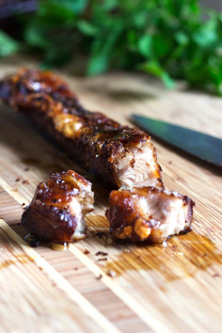 This Honey Glazed Crispy Pork Belly is roasted and crunchy on the outside, fork tender on the inside, with a basting of honey to contrast the Spanish dry rub spices. Meat candy right here people. Delish. keviniscooking.com