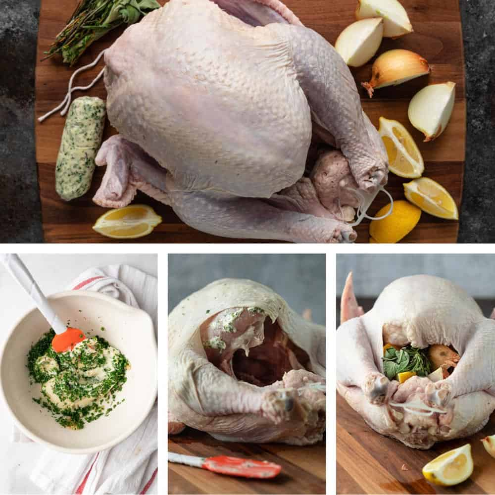 photo collage shows how to truss a turkey with compound butter and fresh citrus