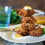 Potato Latkes with Pineapple Sauce and Greek Yogurt