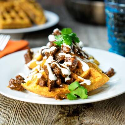 BBQ Beef with Jalapeño Cornmeal Waffles