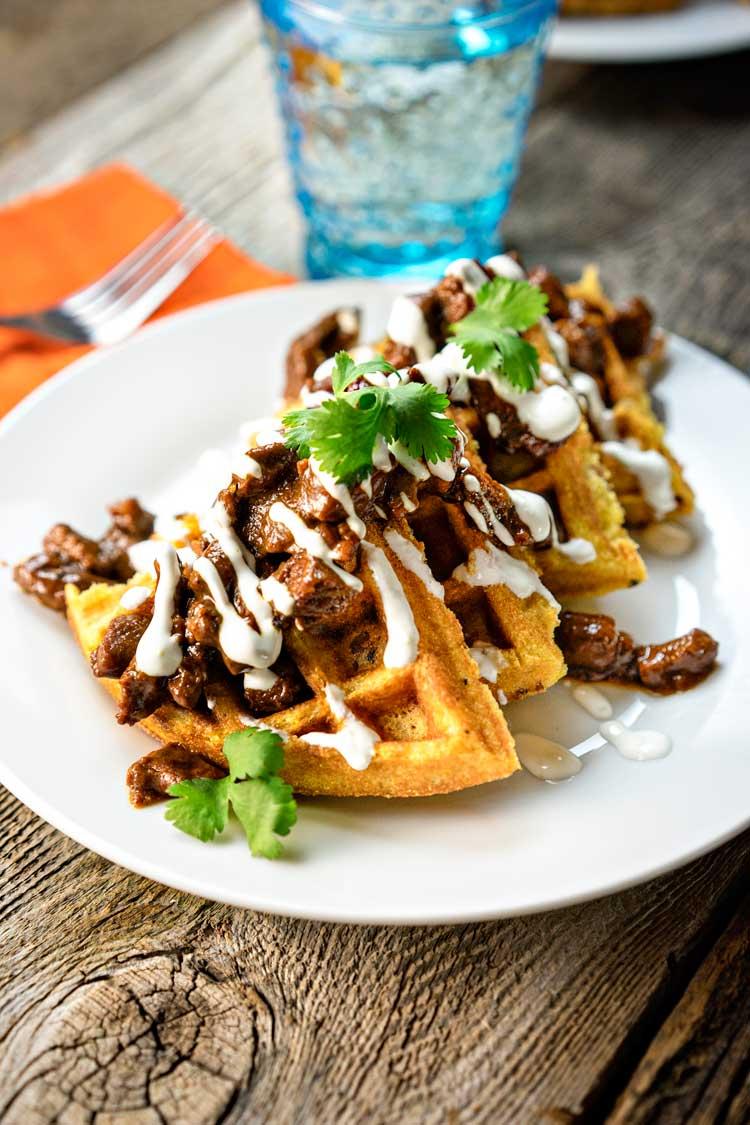 BBQ-Beef-with-Jalapeño-Cornmeal-Waffles. www.keviniscooking.com
