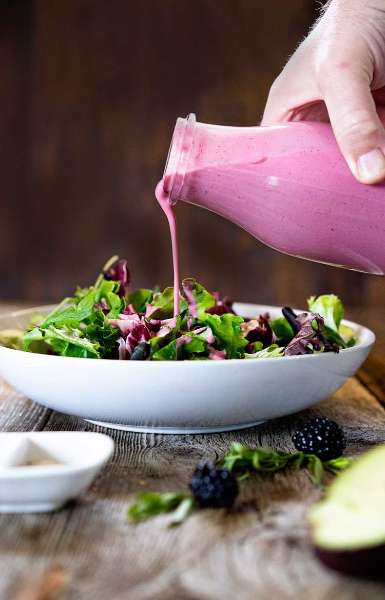 OK, this Blackberry Tarragon Salad Dressing is one of my top 3 salad dressings. Ever. From the fruity blackberry, Greek yogurt and herbal tarragon. So easy! www.keviniscooking.com