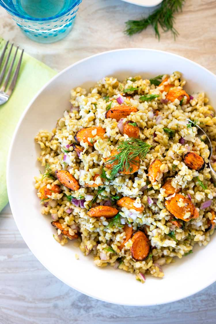 Freekeh Roasted Carrot Salad with Dill - Kevin Is Cooking