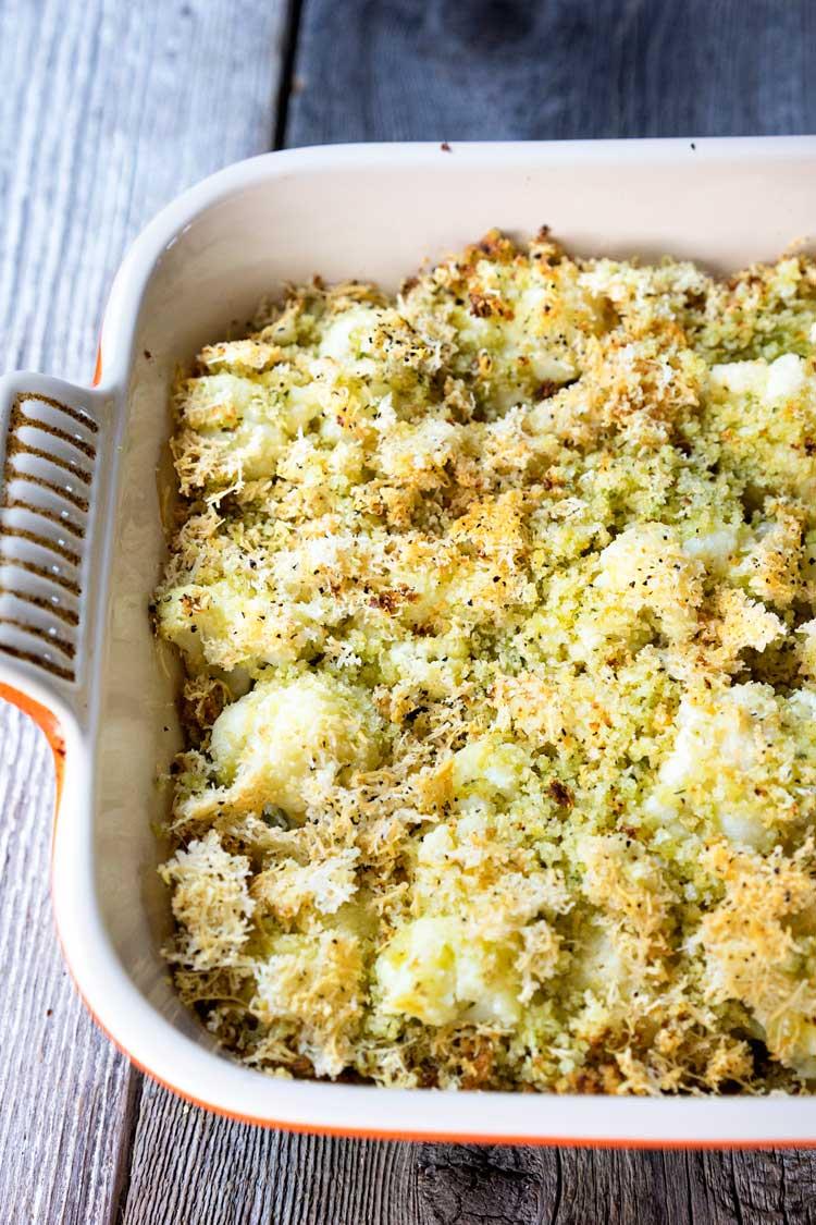 Gratinéed Cauliflower with Pesto Panko Breadcrumbs. www.keviniscooking.com