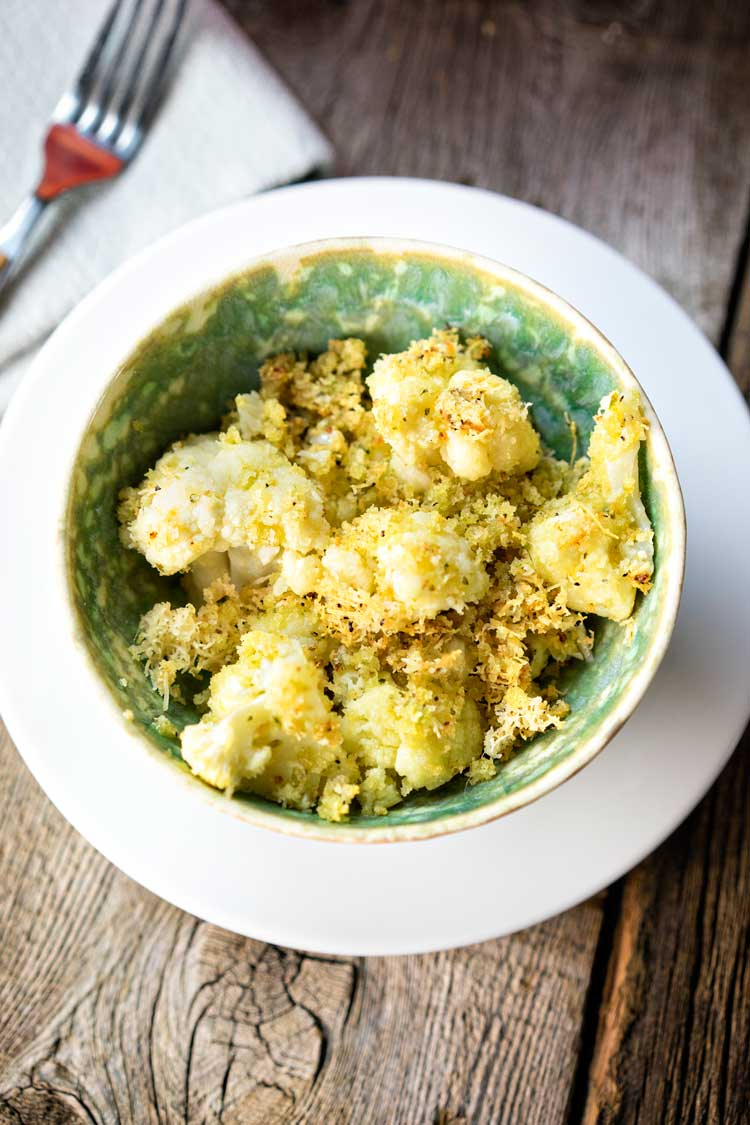 Gratinéed Cauliflower with Pesto Panko Breadcrumbs. www.keviniscooking.com