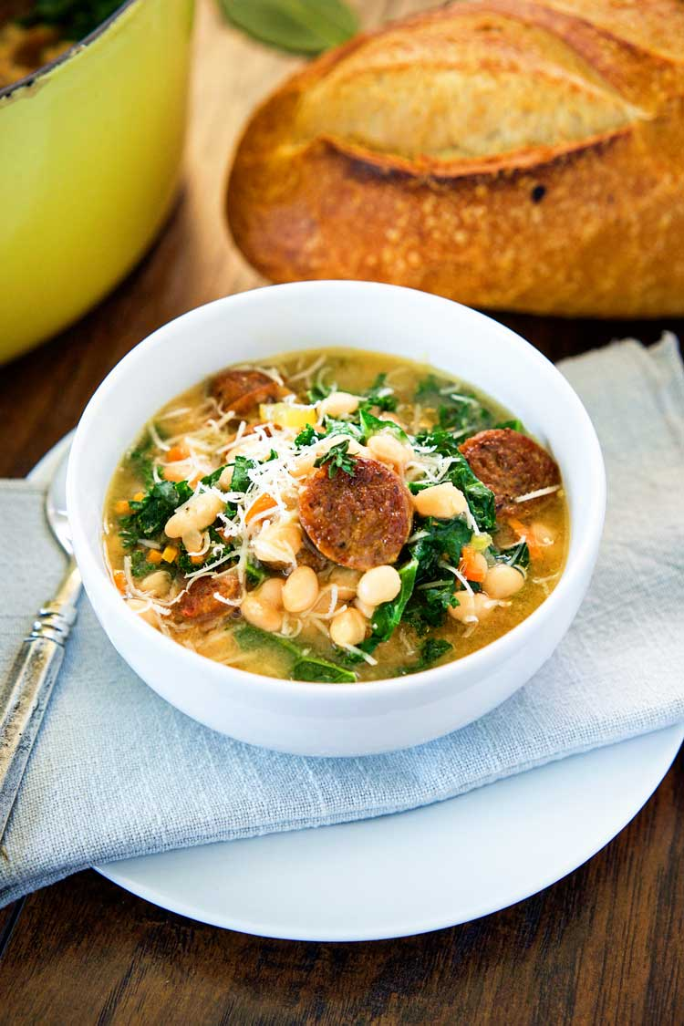 Kale And White Bean Soup With Sausage Kevin Is Cooking