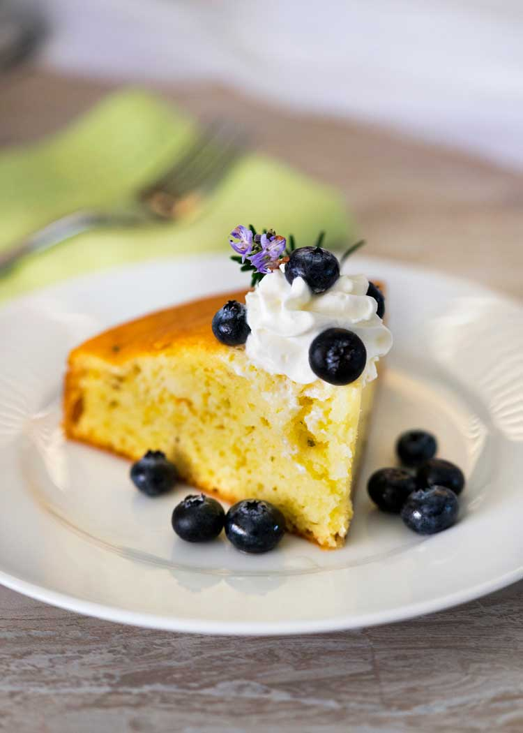 This light and airy Lemon Rosemary Cake has a wonderful combination of flavors that works well and is low in sugar for diabetics needing something sweet. keviniscooking.com