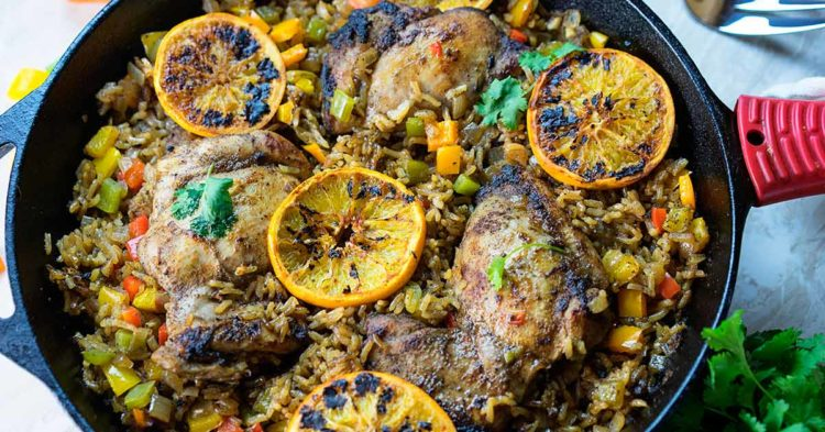 One Pan Jerk Chicken And Rice With Oranges Kevin Is Cooking