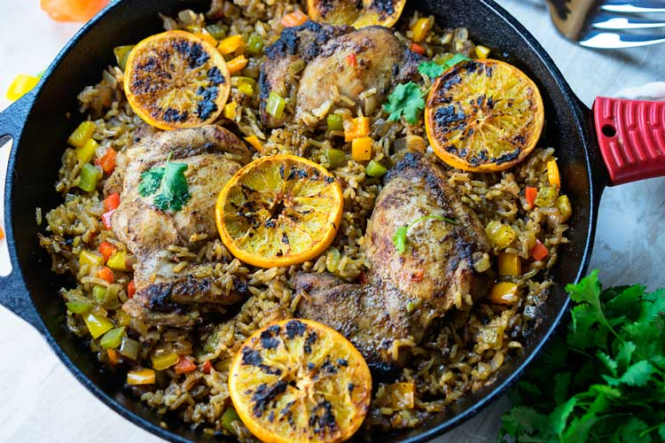 One Pan Jerk Chicken and Rice with Oranges. www.keviniscooking.com