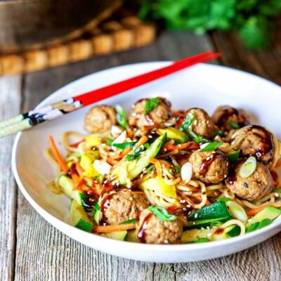Poached Pork Meatballs with Vegetable Noodle Stir Fry