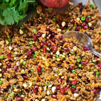 Saffron and Orange Wheat Berries with Pomegranate