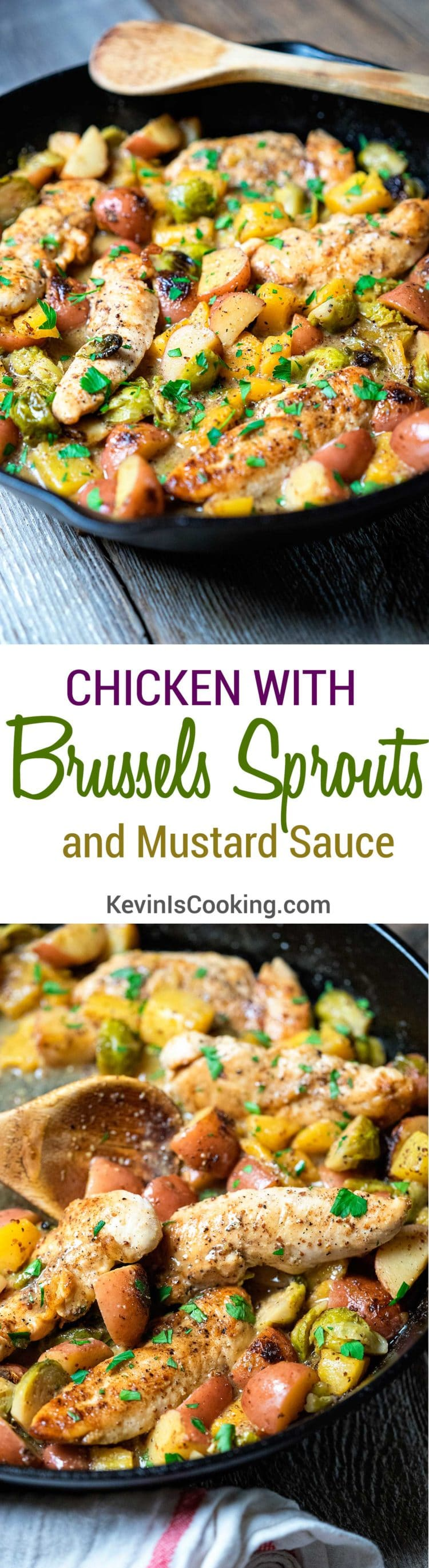 Chicken with Brussels Sprouts and Mustard Sauce - a perfect mid-week dinner that gets a quick pan sear roasted with apple cider, mustard and vegetables.
