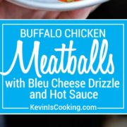 Crunchy Buffalo Chicken Meatballs with Bleu Cheese Drizzle. Perfect game day or party appetizer!