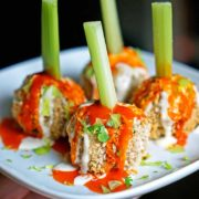 Crunchy Buffalo Chicken Meatballs with Bleu Cheese Drizzle. www.keviniscooking.com