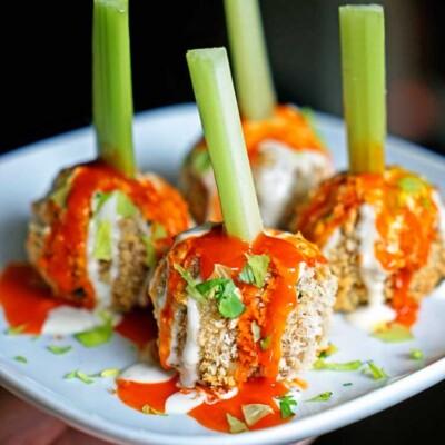 Crunchy Buffalo Chicken Meatballs